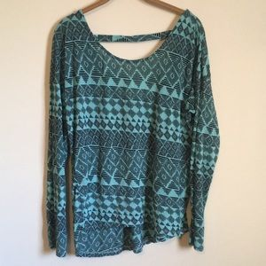 Loose Comfy Aztec Print Mint Top